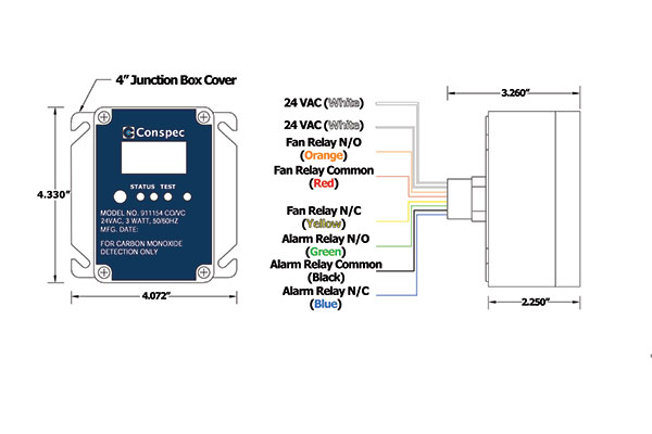 CO VC Gas Detector Dimensions